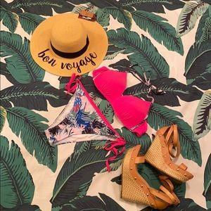 Pink Palm Print 2 Piece Bikini